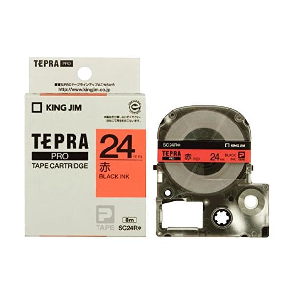 メール便不可 テプラ テープカートリッジ キングジム テプラPRO カラーラベル 注文後の変更キャンセル返品 SC24R 赤地 24mm 超安い 黒文字 パステル