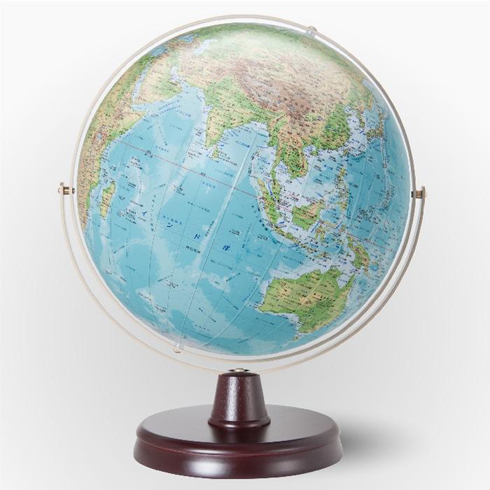 (3/31-4/1割引クーポン対象品) 渡辺教具製作所 衛星地形地球儀 WP(地勢) W-3300 木台 球径32cm 縮尺4,000万分の1