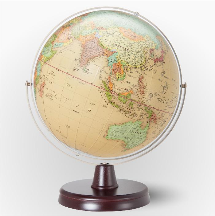 (3/31-4/1割引クーポン対象品) 渡辺教具製作所 衛星地形地球儀 WQ(行政) W-3302 木台 球径32cm 縮尺4,000万分の1