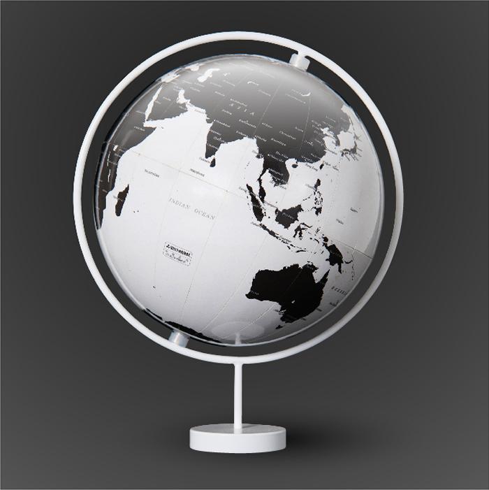 渡辺教具製作所 デザイン地球儀 コロナミニ W-3601 スチール台 球径15cm 縮尺8,400万分の1