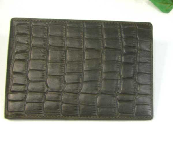 THINLY スィンリー Cシリーズ 薄型2つ折財布 カーキ色 札入れ(大)クロコ型押し SL-C-S01K
