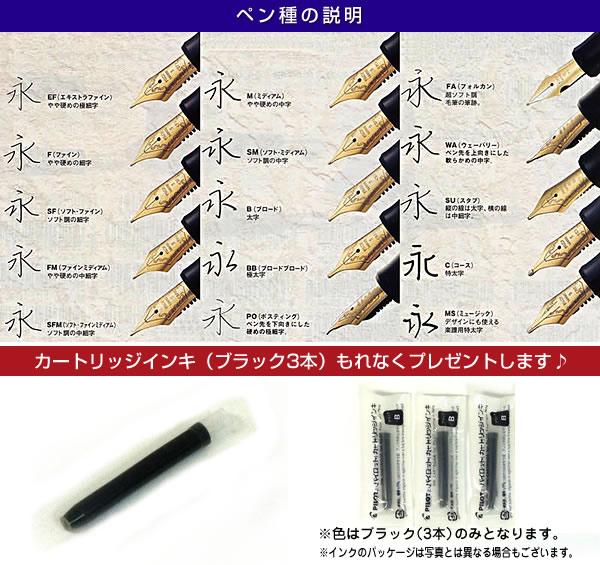 PILOT/Pilot万年笔カスタムヘリテイジ912笔种:14K 10号/轴色:5部黑色FKVH2MR-B-(选择笔种)cartridge墨水附带! fs3gm