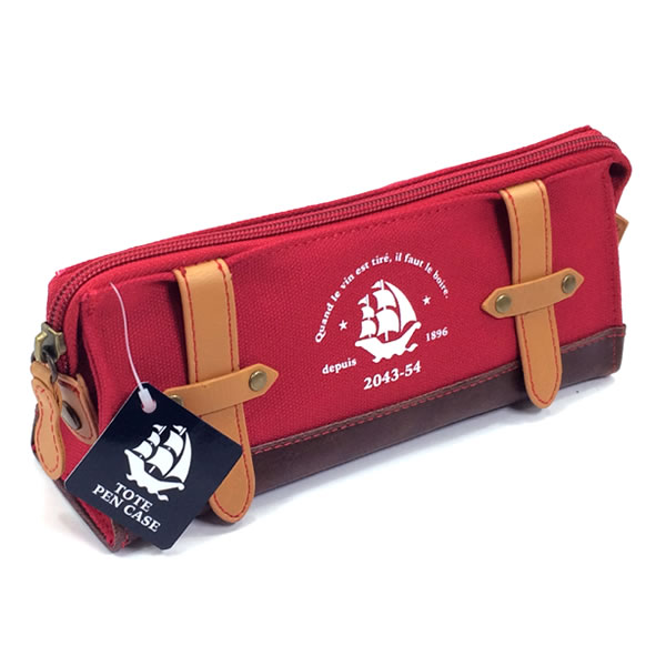 That pen case red FY316R sailing ships marked with pencil case with cotton fabric. In the bottom part of the leather faux leather. Reimei Fujii /Raymay