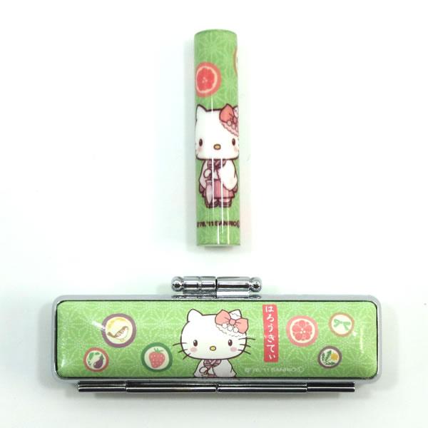 印鑑 サンリオ和ざいく はろうきてい ハローキティ 柄:はんなり緑 WSO-002 印面サイズ12mm丸 紙製化粧箱付き サンビー サンリオ