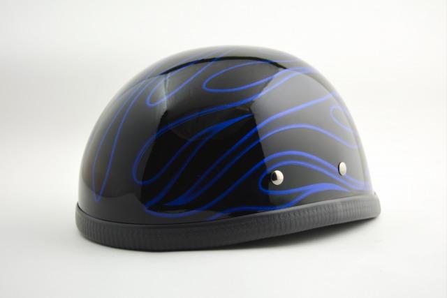 (送料無料)BICYCLE HELMET/BLUE FLAME(検索ワード)マーブライザーキャンディーハーレーデザインペイントラップ塗装かっこいいおしゃれストリート装飾用ダックテールアウトローアメリカンUSAノベルティーバイクバイカー半ヘル