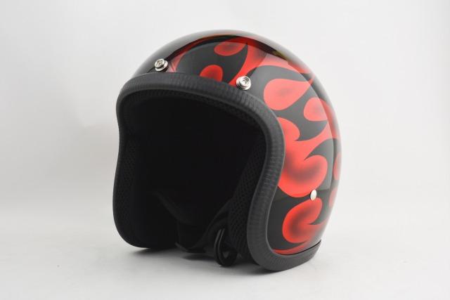 BICYCLE HELMET・HORIZONオリジナル/MINI JET/omjtr02red/検索用ワード(ビンテージヘルメット、軽量、ハーレー、アメリカン、ストリート、ペイントヘルメット、キャンディー、ハンドメイド、エアブラシ、手塗り、カスタムぺイントおしゃれヘルメットノベルティー)