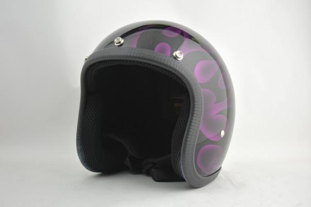 BICYCLE HELMET・HORIZONオリジナル/MINI JET/omjtr02purple/検索用ワード(ビンテージヘルメット、軽量、ハーレー、アメリカン、ストリート、ペイントヘルメット、キャンディー、ハンドメイド、エアブラシ、手塗り、カスタムぺイントおしゃれヘルメットノベルティー)