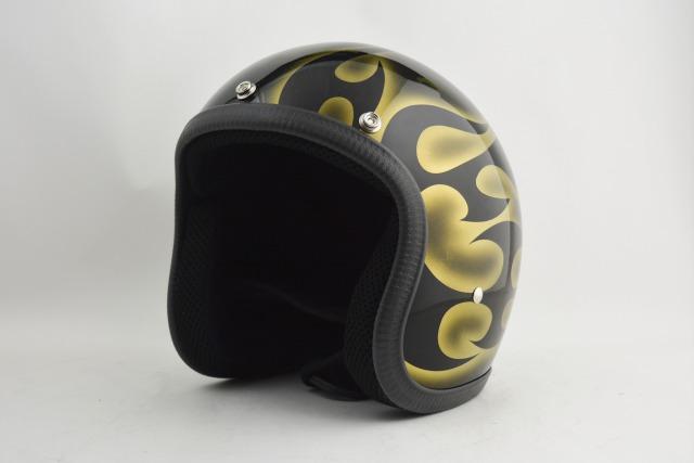 BICYCLE HELMET・HORIZONオリジナル/MINI JET/omjtr02gold/検索用ワード(ビンテージヘルメット、軽量、ハーレー、アメリカン、ストリート、ペイントヘルメット、キャンディー、ハンドメイド、エアブラシ、手塗り、カスタムぺイントおしゃれヘルメットノベルティー)
