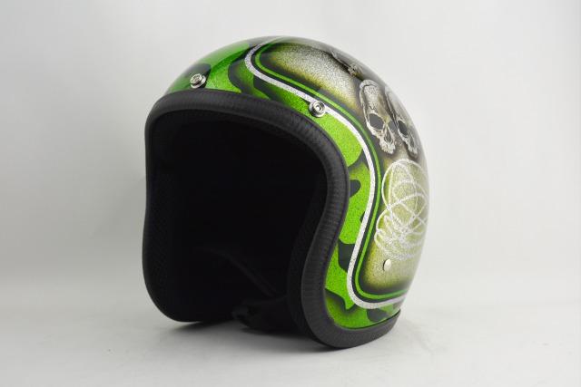 BICYCLE HELMET・HORIZONオリジナルMINI JET/skull head green/検索用ワード(ビンテージヘルメット、軽量、ハーレー、アメリカン、ストリート、ペイントヘルメット、キャンディー、ハンドメイド、エアブラシ、手塗り、カスタムぺイントおしゃれヘルメットノベルティー)