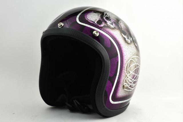 BICYCLE HELMET・HORIZONオリジナル/MINI JET/skull head purple/検索用ワード(ビンテージヘルメット、軽量、ハーレー、アメリカン、ストリート、ペイントヘルメット、キャンディー、ハンドメイド、エアブラシ、手塗り、カスタムぺイントおしゃれヘルメットノベルティー)