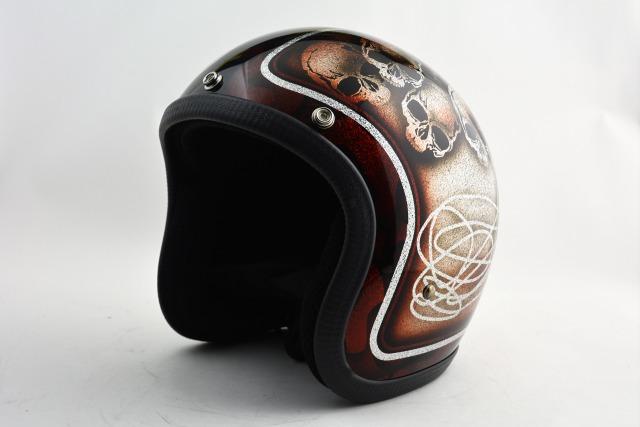 BICYCLE HELMET・HORIZONオリジナル/MINI JET/skull head brown/検索用ワード(ビンテージヘルメット、軽量、ハーレー、アメリカン、ストリート、ペイントヘルメット、キャンディー、ハンドメイド、エアブラシ、手塗り、カスタムぺイントおしゃれヘルメットノベルティー)