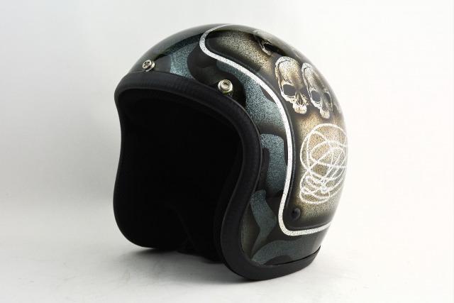BICYCLE HELMET・HORIZONオリジナル/MINI JET/skull head black/検索用ワード(ビンテージヘルメット、軽量、ハーレー、アメリカン、ストリート、ペイントヘルメット、キャンディー、ハンドメイド、エアブラシ、手塗り、カスタムぺイントおしゃれヘルメットノベルティー)