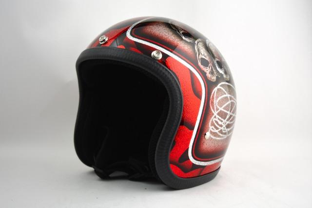 BICYCLE HELMET・HORIZONオリジナル/MINI JET/skull head red/検索用ワード(ビンテージヘルメット、軽量、ハーレー、アメリカン、ストリート、ペイントヘルメット、キャンディー、ハンドメイド、エアブラシ、手塗り、カスタムぺイントおしゃれヘルメットノベルティー)
