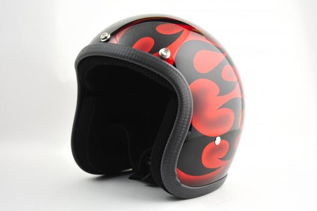 BICYCLE HELMET・HORIZONオリジナル/MINI JET/omjtr02redcrossg/検索用ワード(ビンテージヘルメット、軽量、ハーレー、アメリカン、ストリート、ペイントヘルメット、キャンディー、ハンドメイド、エアブラシ、手塗り、カスタムぺイントおしゃれヘルメットノベルティー)