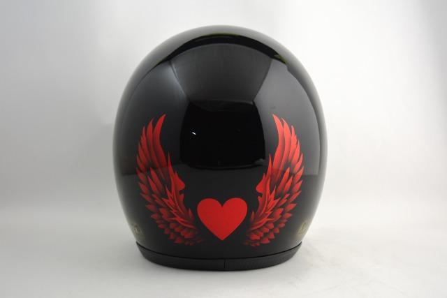 BICYCLE HELMET・HORIZONオリジナル/MINI JET/omj04heartwingred/検索用ワード(ビンテージヘルメット、軽量、ハーレー、アメリカン、ストリート、ペイントヘルメット、キャンディー、ハンドメイド、エアブラシ、手塗り、カスタムぺイントおしゃれヘルメットノベルティー)