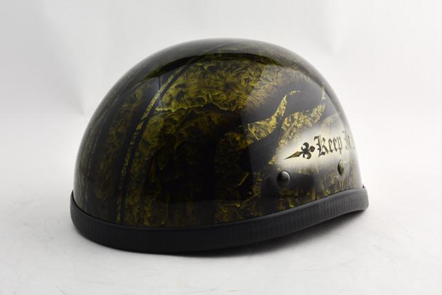 BICYCLE HELMET/EAGLE HALF HELMET/ohe02bfsgoldイーグルハーフヘルメット/カスタムペイント(検索ワード)マーブライザーキャンディーハーレーデザインペイントラップ塗装装飾用ダックテールアウトローアメリカンUSAノベルティーバイクバイカー半ヘル