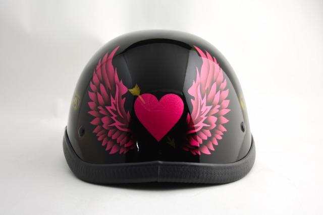 自転車用・BICYCLE HELMET/EAGLE HALF HELMET/ohe03heartwing2pinkイーグルハーフヘルメット/カスタムペイント(検索ワード)マーブライザーキャンディーハーレーデザインペイントラップ塗装装飾用ダックテールアウトローアメリカンUSAノベルティーバイクバイカー半ヘル