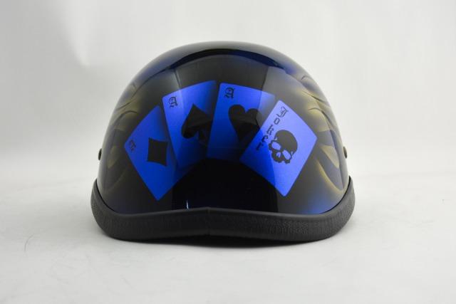 BICYCLE HELMET/EAGLE HALF HELMET/ohefrgtrumpblueイーグルハーフヘルメット/カスタムペイント(検索ワード)マーブライザーキャンディーハーレーデザインペイントラップ塗装装飾用ダックテールアウトローアメリカンUSAノベルティーバイクバイカー半ヘル