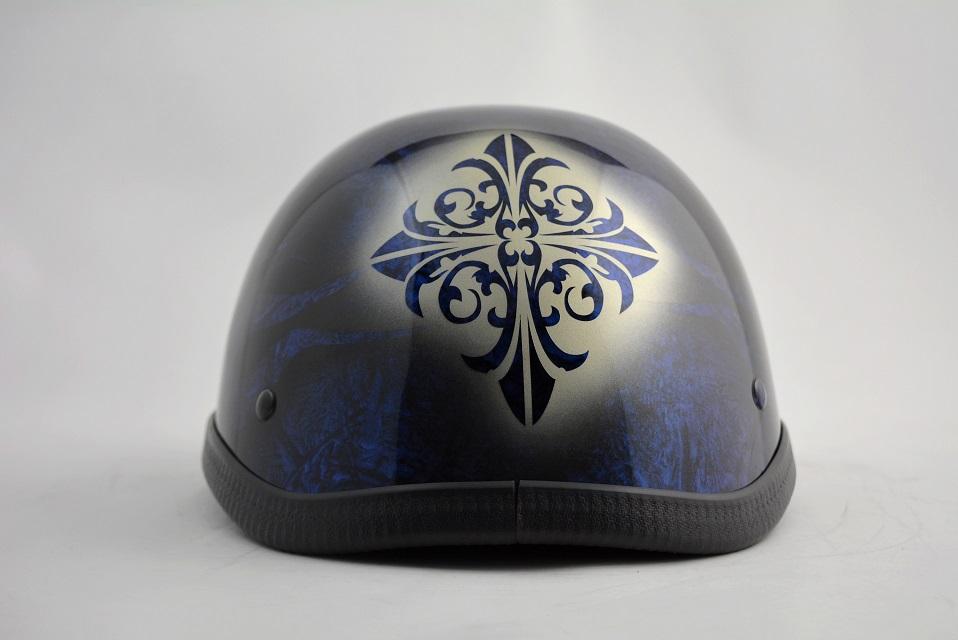 BICYCLE HELMET/EAGLE HALF HELMET/ohe01bfbluecrossイーグルハーフヘルメット/カスタムペイント(検索ワード)マーブライザーキャンディーハーレーデザインペイントラップ塗装装飾用ダックテールアウトローアメリカンUSAノベルティーバイクバイカー半ヘル