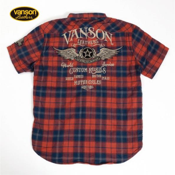バンソン VANSON NVSS-903 半袖シャツ スペック染め二重チェックシャツ メンズ /新作/ネバーマインド/ネイビーブルー(検索ワード)バイク/ハーレーダビッドソン/バイカーファッション/バイクアパレル/アメリカン/Tシャツ/おしゃれ/スター/トラッカー/メンズ/レディース
