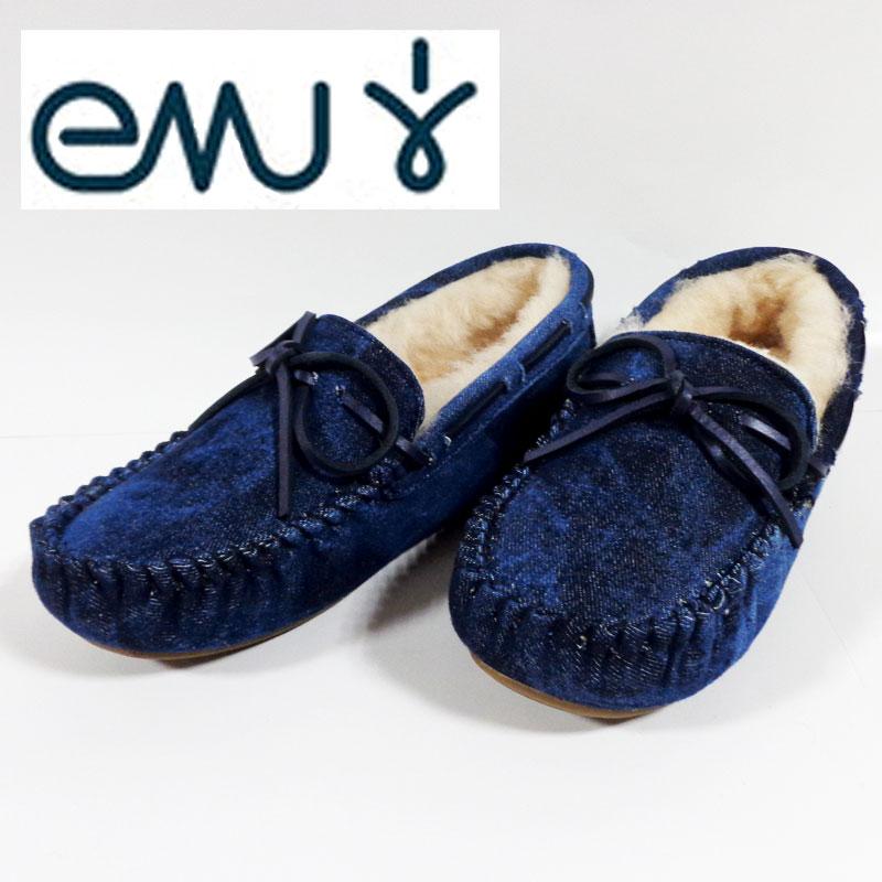EMUエミュー(emu) モカシン シープスキン デニムW11352-Indigo