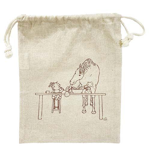 まるで絵本ようなステキなイラスト チアブーコ の優しい馬のイラスト巾着 ポーチ 再生コットンシャンブリック素材Illustration お見舞い きらい にんじん スーパーセール期間限定