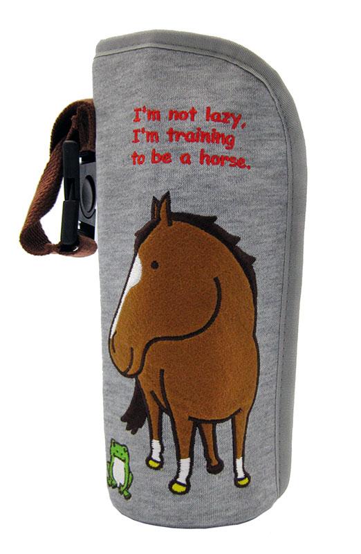 500mlペットボトル入ります☆哺乳瓶ケースとしてもOK♪ 馬とカエル・ボトルホルダースウェット素材フェルトアップリケイラストおがわじゅり ホースシューオリジナル