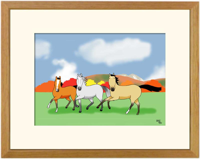 額付きイラスト大衣サイズ ~行楽・Three horses・うま旅~馬のイラストレーター おがわじゅり 直筆サイン入り送料無料