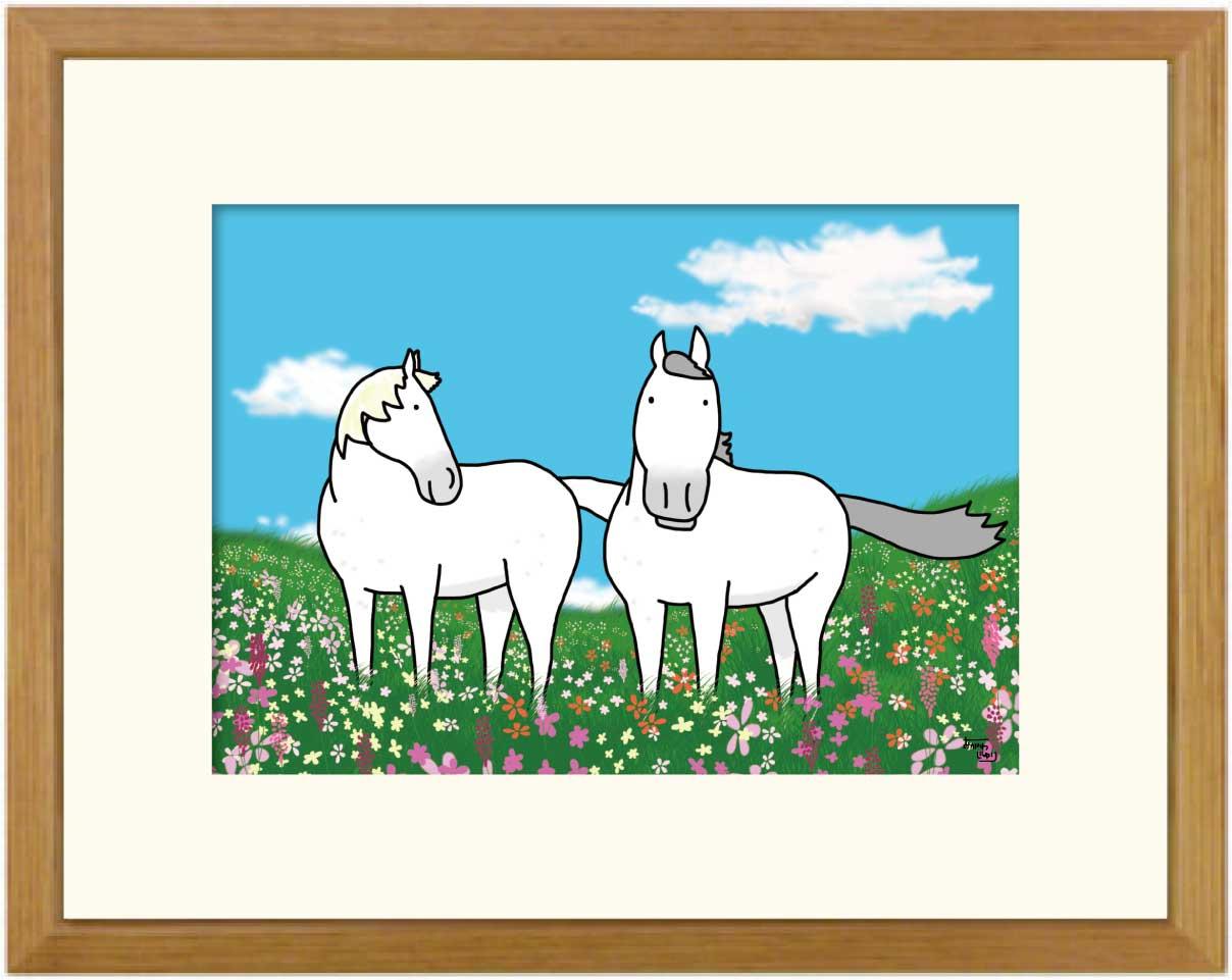 額付きイラスト大衣サイズ ~芦毛の春~馬のイラストレーター おがわじゅり 直筆サイン入り送料無料
