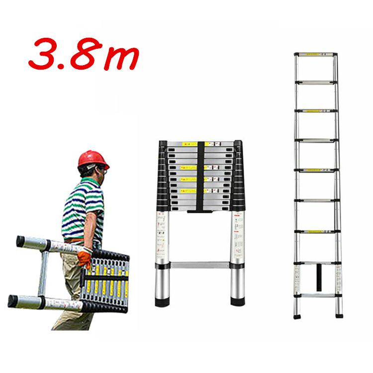 【ポイント5倍&クーポン配布中】伸縮はしご 3.8m はしご 伸縮 足場 はしご アルミ 伸縮 ハシゴ アルミ はしご 安全ロック付 ガーデニング 洗車 雪下ろし 掃除 高所作業に
