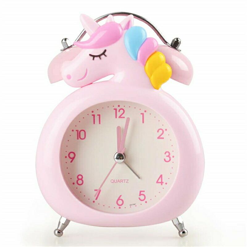 新店オープンセール めざまし時計 大音量 ナイトライト かわいい ユニコーン クロック プレゼント 超安い 男の子 少女 置き時計 女の子 静か 卓上 目覚まし時計 与え