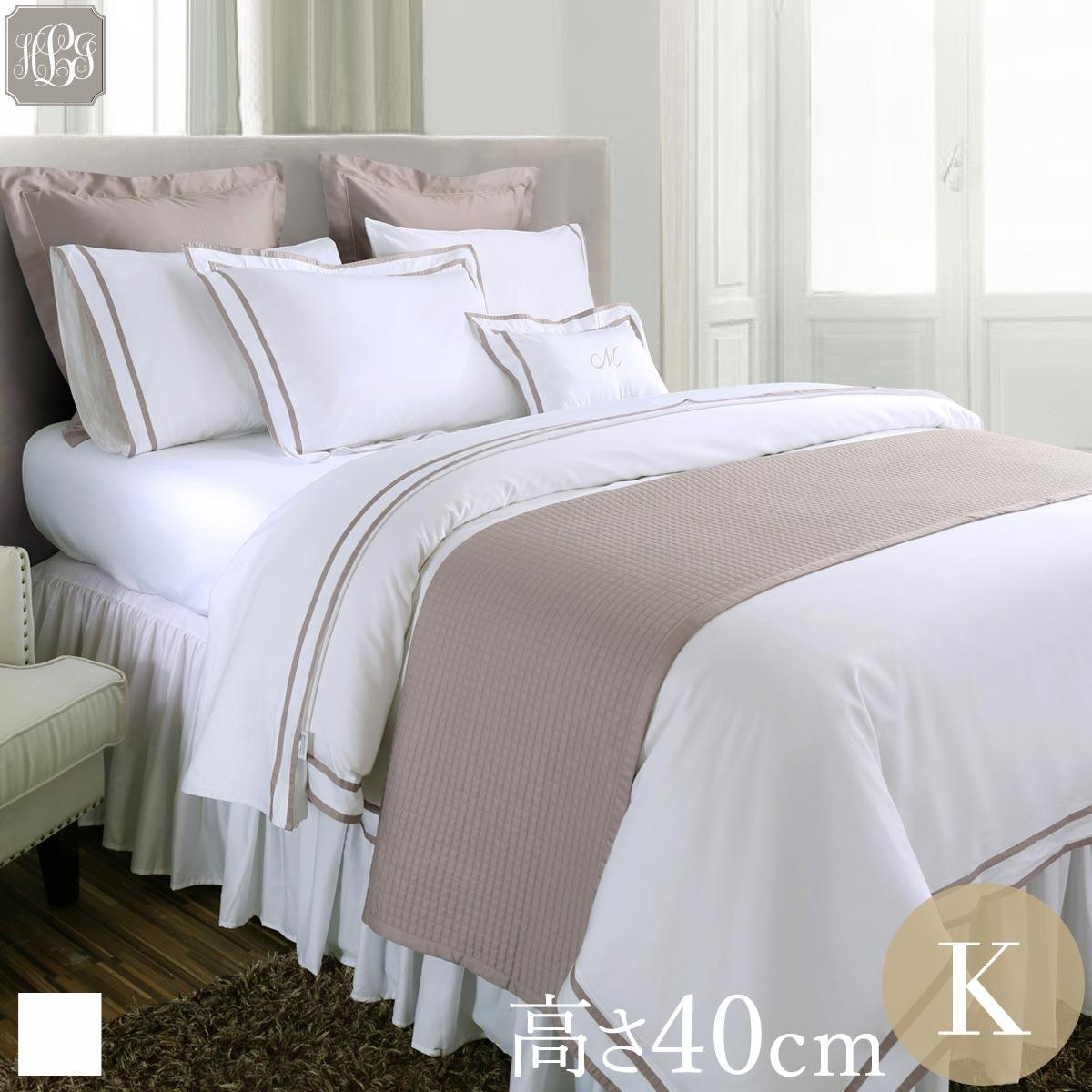 キング 180×200cm 高さ40cm ボックスシーツ 無地ホワイト ラインなし ・ 400TC ホテル 綿100%