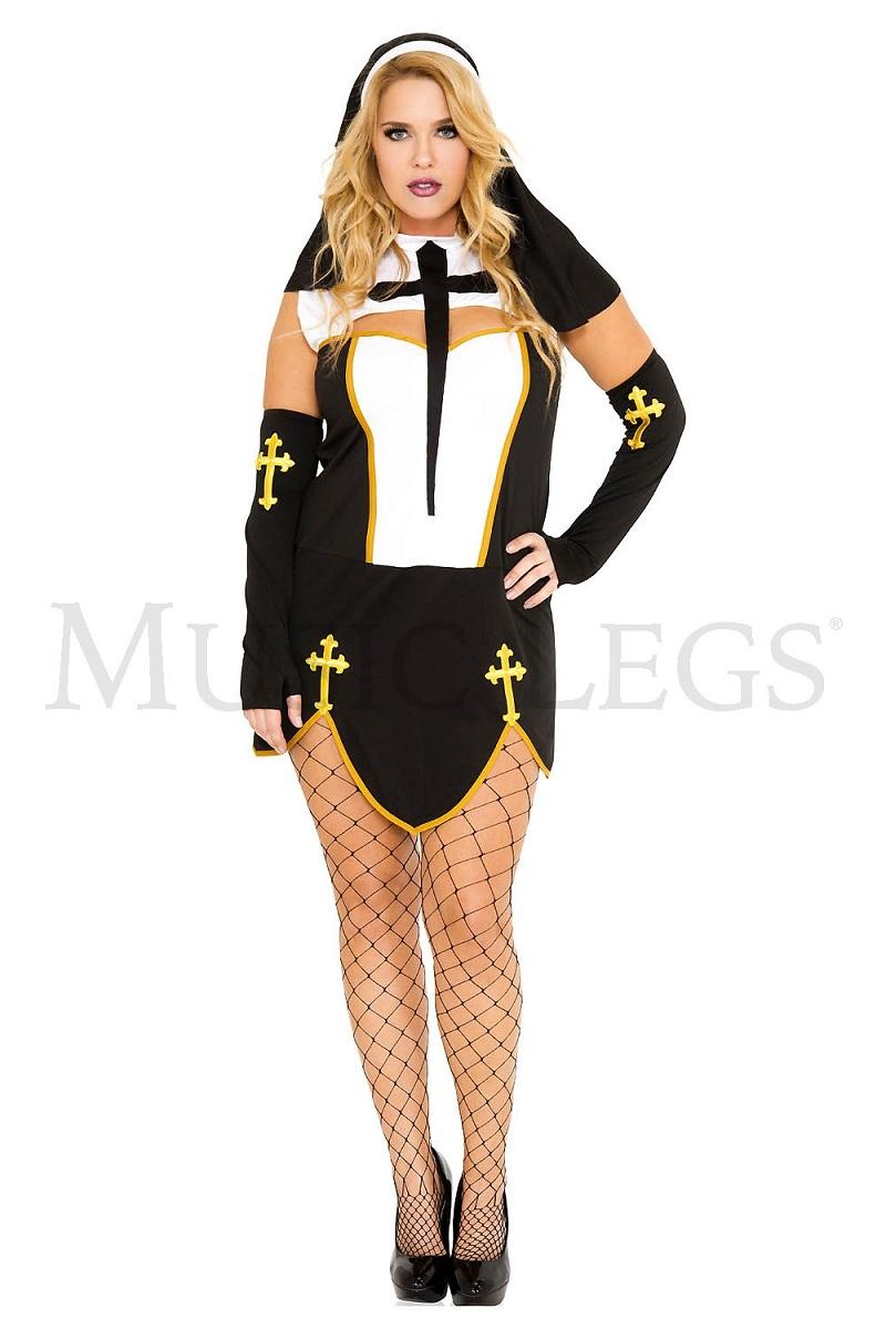 【Music Legs】 70259Q Bad Habit Nun 『大きいサイズ』 ミュージックレッグス レディース セクシーシスター コスチューム