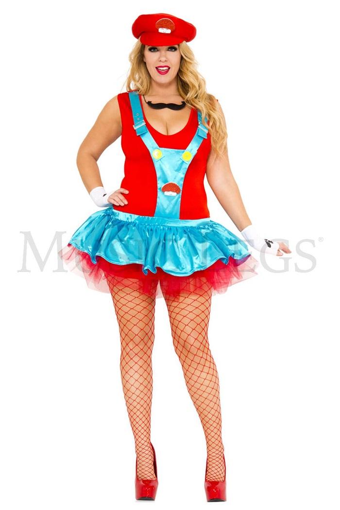 【Music Legs】 70452Q Red Playful Plumber 『大きいサイズ』ミュージックレッグス レディース レッドプラマー/スーパーマリオ風 コスチューム