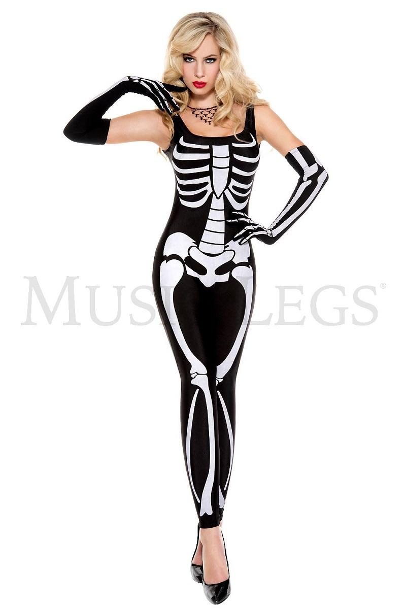 【Music Legs】 70661 Skeleton Jumpsuit ミュージックレッグス レディース スケルトンプリント ジャンプスーツ