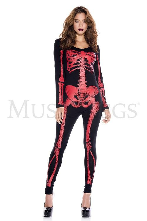 【Music Legs】 70970 Skeleton Red Print Catsuit ミュージックレッグス レディース スケルトンプリント キャットスーツ