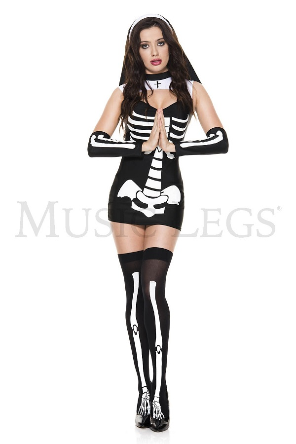 Music Legs 70998 Skeleton Nun 国内正規総代理店アイテム 新作 レディース シスター スケルトン ミュージックレッグス コスチューム