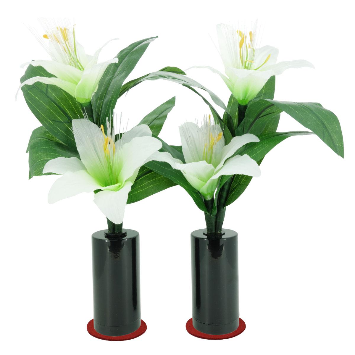 ミニルミナス 白リリー 百合 ゆり LED 盆提灯 仏花 送料無料