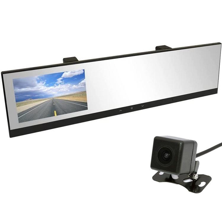地デジノイズ対策 高画質CCDカメラ 広角レンズ 12V 日本車対応仕様 右ハンドル向け ルームミラー型ドライブレコーダー+ガイドライン切替可バックカメラセット 4.3インチモニター内蔵 KAIDU100B021