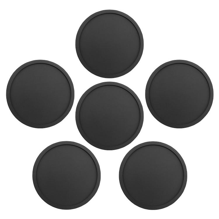 凹面で水滴をキャッチ シリコン製コースター 6枚セット ブラック 丸型 耐水 耐熱コースター お買得 ソフトシリコン素材 CCSS06S カップホルダー 立体型 シンプルデザイン ノンスリップ お手入れ簡単 [再販ご予約限定送料無料]