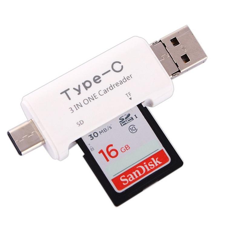 安心の定価販売 3in1のカードリーダー microUSB 高級 Type-C USB TYPEC3IN1 Micro SDカード