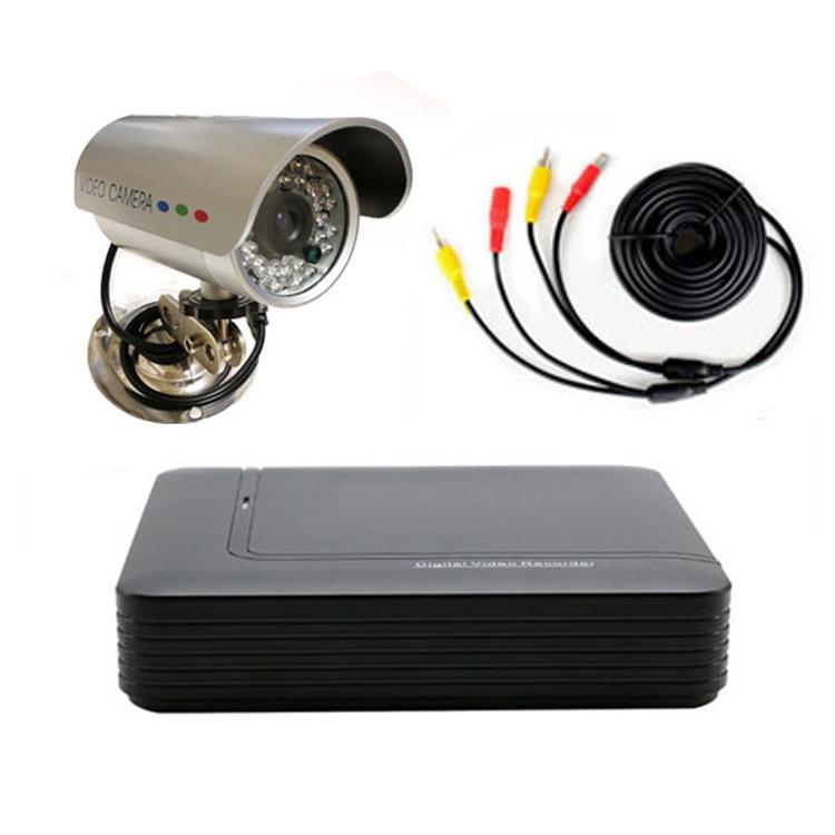 防犯カメラセット 4CHデジタルレコーダー+CCTVカメラ+20M映像ケーブル 4台接続・同時録画可能レコーダー スマホでどこからでもリアルイム監視、遠隔操作 H.264 VGA/HDMI出力 DVR10044CT100SET