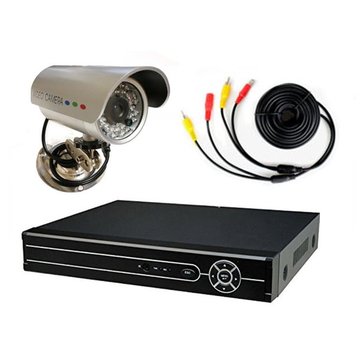 4CHデジタルレコーダー+CCTVカメラ+20M映像ケーブル 防犯カメラセットBNC端子4個付き スマホでどこからでも監視 暗視防水防犯カメラ DVR6404CT100SET