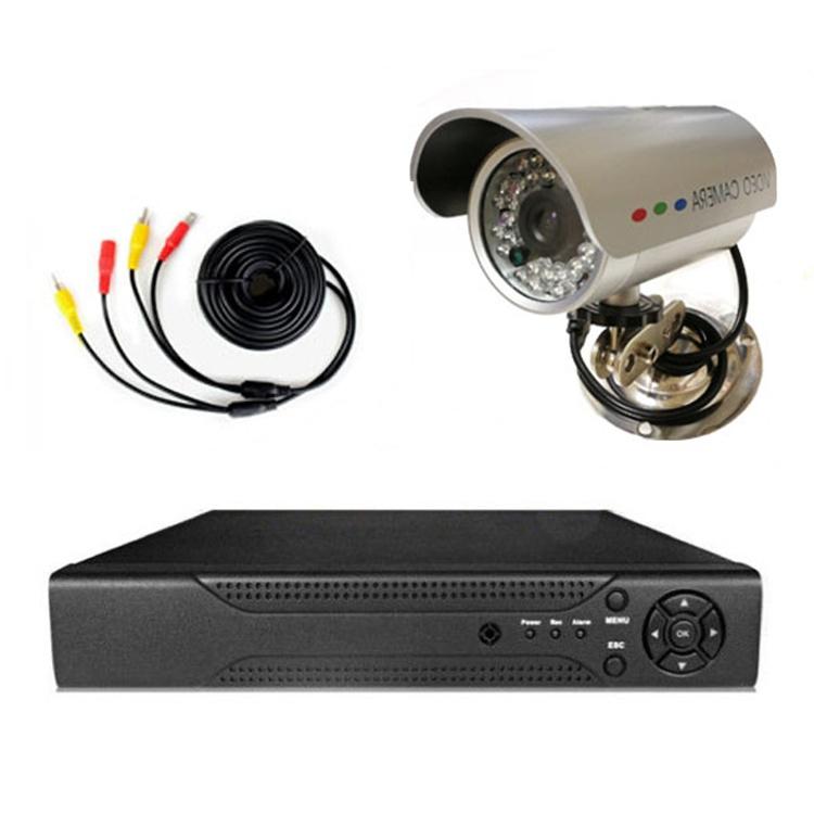 4CHデジタルレコーダー+CCTVカメラ+20M映像ケーブル 防犯カメラセットBNC端子4個付き スマホでどこからでも監視 暗視防水防犯カメラ DVR6004CT100SET