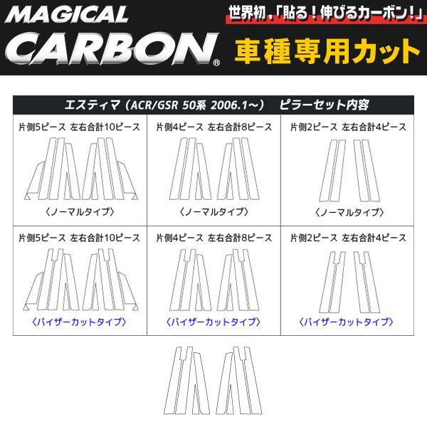 マジカルカーボン ピラーセットバイザーカット エスティマ ACR/GSR50系/ハセプロ/HASEPRO:CPT-V24-4