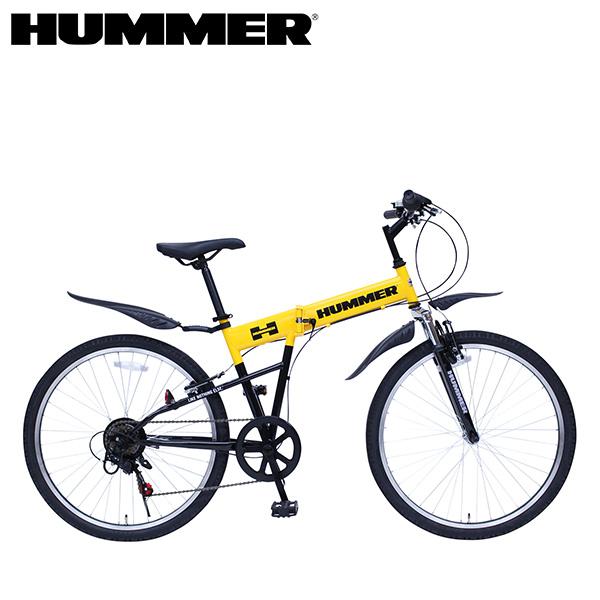 折りたたみ自転車 折り畳み 折畳み 6段変速 Fサス イエロー HUMMER/ハマー FサスFD-MTB266SE MG-HM266E ミムゴ