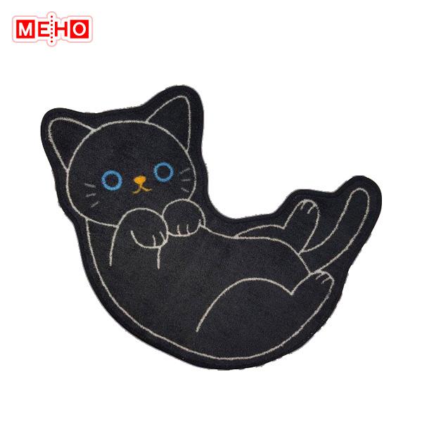 猫 黒猫 CAT ごろんポーズ 高品質 W650mm×D5mm×H460mm 爆安プライス NEW キッチンマット 玄関などにも MEIHO 明邦 ねこのトイレマットクロ ME176