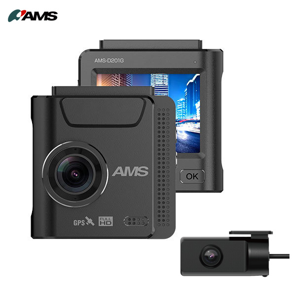 ワンボディ型ドライブレコーダー 専用リアカメラ搭載 FullHD200万画素ドラレコ 贈物 Gセンサー GPS内蔵 好評 microSD付 AMS-D201G アムス AMS 16GB