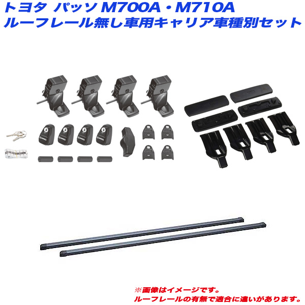INNO/イノー キャリア車種別セット パッソ M700A/M710A H28.4 5HB ルーフレール無し車用 INSUT + IN-B127 + K483