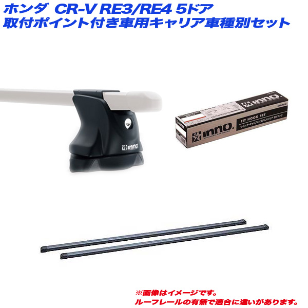 INNO/イノー キャリア車種別セット CR-V RE3/RE4 H18.10~H23.11 5ドア 取付ポイント付車用 IN-XP + IN-B117 + TR121